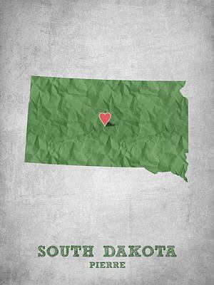 Mount Rushmore Digital Art - I Love Pierre South Dakota - Green by Aged Pixel