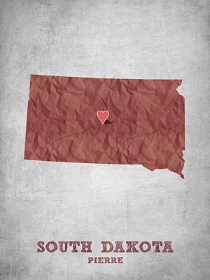 Mount Rushmore Digital Art - I Love Pierre South Dakota - Red by Aged Pixel