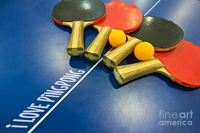 I Love Ping-pong Bats Table Tennis Paddles Rackets On Blue Print by Beverly Claire Kaiya