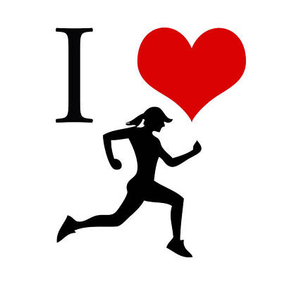 Quotes Painting - I Love Running by Gina Dsgn