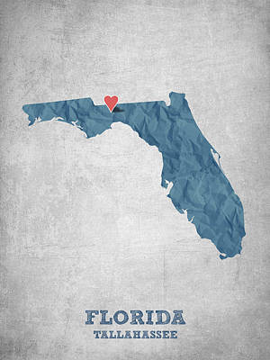 Florida State Digital Art - I Love Tallahassee Florida - Blue by Aged Pixel