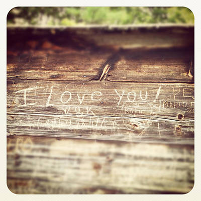 Woods Photograph - I Love You Carved In Wood by Brooke Ryan