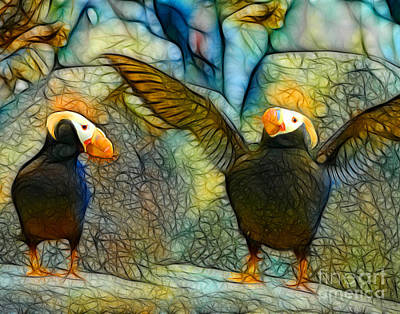 Puffin Mixed Media - I Love You This Much by Francine Dufour Jones