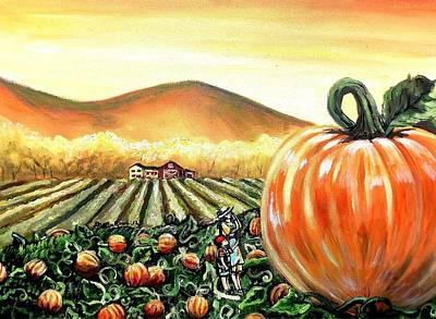 Picking Pumpkins Painting - I Want That One Mom by Shana Rowe Jackson