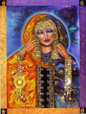 Sacred Feminine Moon Painting - Ianna Lady Of Heaven by Ilene Satala