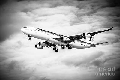 Iberia Airlines Airbus A340 Airplane In Black And White Print by Paul Velgos