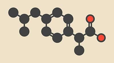 Inflammation Photograph - Ibuprofen Inflammation Drug Molecule by Molekuul