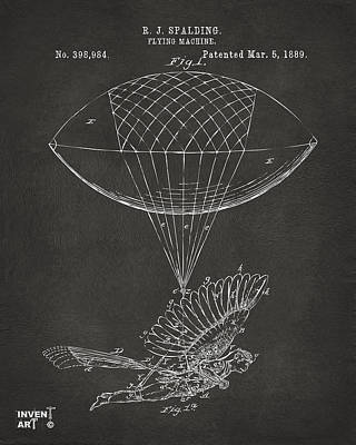 Icarus Airborn Patent Artwork Gray Print by Nikki Marie Smith