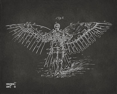 Monocromatic Drawing - Icarus Flying Machine Patent Artwork Gray by Nikki Marie Smith