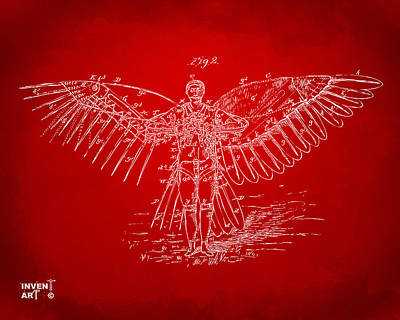 Icarus Flying Machine Patent Artwork Red Print by Nikki Marie Smith