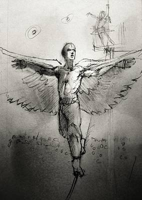 Tightrope Drawing - Icarus by H James Hoff