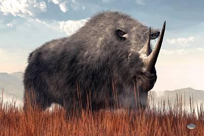 Rhinoceros Digital Art - Ice Age Rhino by Daniel Eskridge