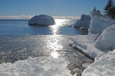 Ice Cold Day On Lake Superior Print by Sandra Updyke