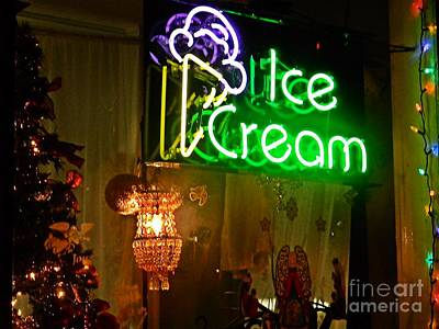 Ice Cream Decorated For Christmas Print by JW Hanley