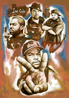 Stylized Mixed Media - Ice Cube Group Drawing Pop Art Sketch Poster by Kim Wang