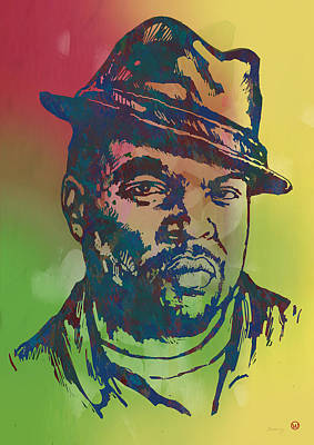 Film Mixed Media - Ice Cube Pop Art Etching Poster by Kim Wang