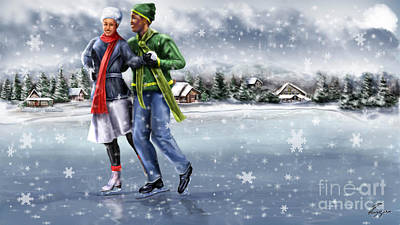 Ice Dancing On The Lake Print by Reggie Duffie