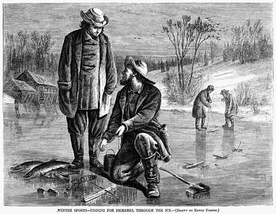 Pickerel Painting - Ice Fishing, 1868 by Granger
