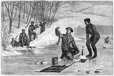 Pickerel Drawing - Ice Fishing, 1874 by Granger