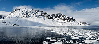 Cold Temperature Photograph - Ice Floes On Water With A Mountain by Panoramic Images