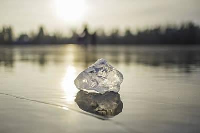 Winter Fun Photograph - Ice Puck On Little Rock Lake by Alex Blondeau