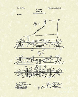 Skating Drawing - Ice Skate 1899 Patent Art by Prior Art Design