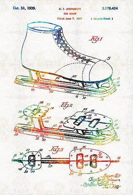 Hockey Games Painting - Ice Skate Patent - Sharon Cummings by Sharon Cummings