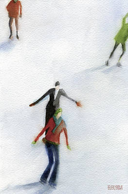 Ice Skaters Watercolor Painting Print by Beverly Brown