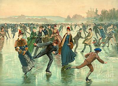 Winter Fun Photograph - Ice Skating 1885 by Padre Art