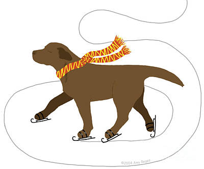 Ice Skating Chocolate Labrador Dog Print by Amy Reges