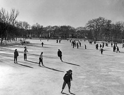 Ice Skating In Wisconsin Print by Underwood Archives