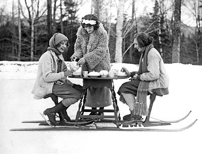 Ice Skating Tea Time Print by Underwood Archives