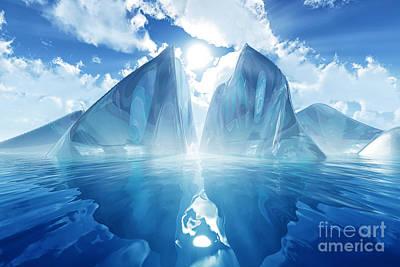 Sun Rays Digital Art - Iceberg In Calm Sea by Aleksey Tugolukov