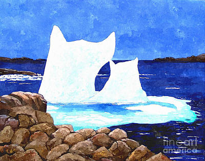 Icebergs - Unique Shape Bergs - Northern Visitors Print by Barbara Griffin