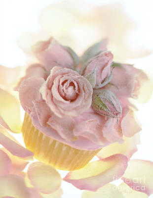 Iced Cup Cake With Sugared Pink Roses Print by Iris Richardson