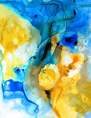 Abstract Movement Painting - Iced Lemon Drop - Abstract Art By Sharon Cummings by Sharon Cummings