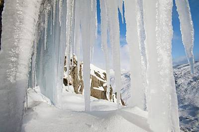 Drifting Snow Photograph - Icefall by Ashley Cooper