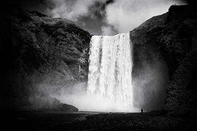 Tons Of Photograph - Iceland Black And White Skogafoss Waterfall by Matthias Hauser