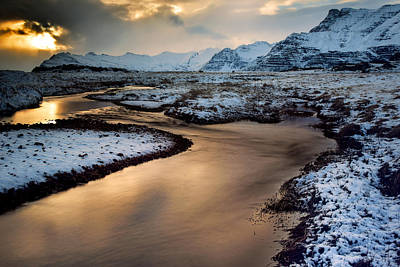 Iceland Winter Glow Print by Mike Berenson