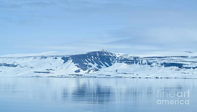 Iceland Winter Landscape Of Beautiful Mountains Covered In Snow  Print by Aleksandar Mijatovic