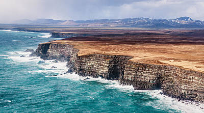 Icelandic Coast - Iceland Aerial Photograph Print by Duane Miller