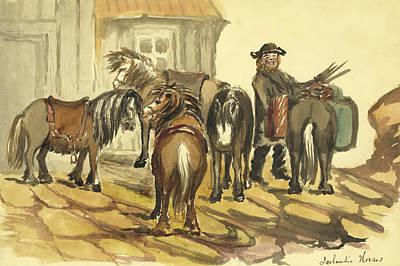 Feeding Drawing - Icelandic Horses Circa 1862 by Aged Pixel