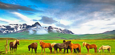 Icelandic Horses In Iceland Painting With Vibrant Colors Print by Matthias Hauser
