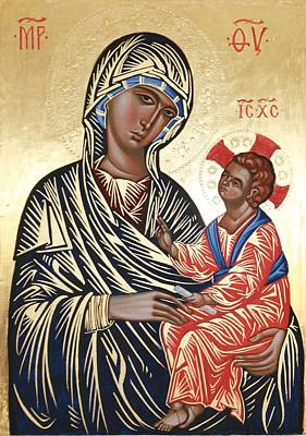 Byzantine Icon Painting - Icon After The Kahn Madonna by Peter Murphy