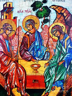 Jesus Christ Icon Painting - Icon Of The Holy Trinity by Ryszard Sleczka