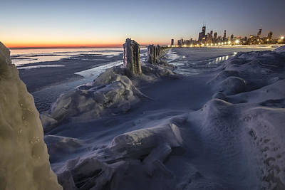 Icy Chicago Lakefront Scene Print by Sven Brogren