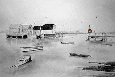 Maine Winter Painting - Icy Christmas Harbor by Nelson Ruger