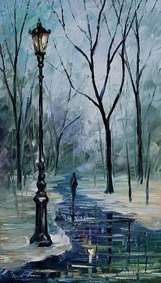 Icy Path - Palette Knife Oil Painting On Canvas By Leonid Afremov Print by Leonid Afremov