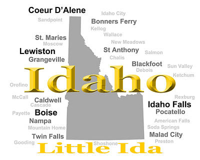 Idaho State Pride Map Silhouette  Print by Keith Webber Jr