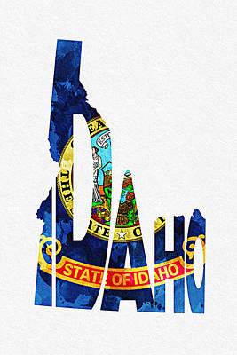 Idaho Typographic Map Flag Print by Ayse Deniz